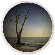 Sunset At Lovers Key Round Beach Towel