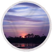 Sunset At Malibu Beach Lagoon Estuary Fine Art Photograph Print Round Beach Towel