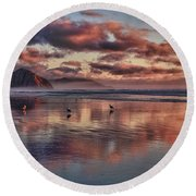 Sunset At Morro Strand Round Beach Towel