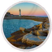 Sunset At Old Scituate Lighthouse Round Beach Towel