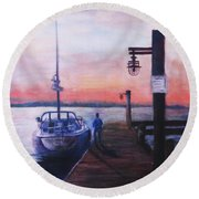 Round Beach Towel featuring the painting Sunset At Rocky Point by Sher Nasser