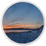 Sunset At Scituate Light Round Beach Towel