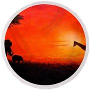 Round Beach Towel featuring the painting Sunset At Serengeti by Sher Nasser