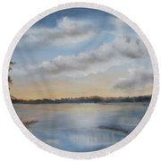 Sunset At Sparta Lake New Jersey Round Beach Towel