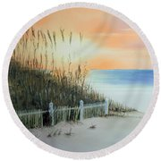 Sunset At The Beach Round Beach Towel by Chris Fraser