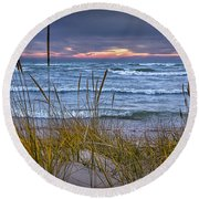 Sunset On The Beach At Lake Michigan With Dune Grass Round Beach Towel