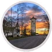 Colorful Sky Over The City. Round Beach Towel