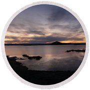 Sunset Over Lake Myvatn In Iceland Round Beach Towel