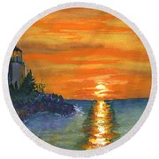 Sunset At The Lighthouse Round Beach Towel