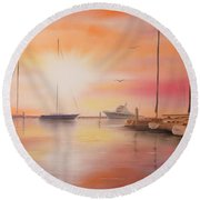 Round Beach Towel featuring the painting Sunset At The Marina by Chris Fraser