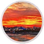 Sunset At The Music Pier Round Beach Towel