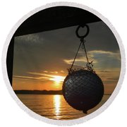 Sunset At The Pier Round Beach Towel by Jean Goodwin Brooks