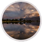 Sunset At The Pond Round Beach Towel