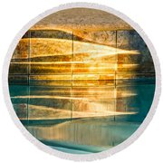 Sunset At The Pool Round Beach Towel