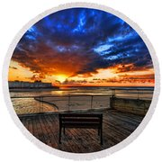 sunset at the port of Tel Aviv Round Beach Towel