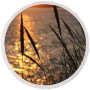 Sunset Beach Round Beach Towel by Athena Mckinzie