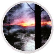 Sunset Atop Windy Emerald Park Round Beach Towel by Jason Politte