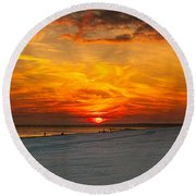 Sunset Beach New York Round Beach Towel