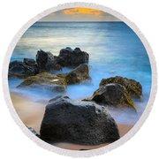 Sunset Beach Rocks Round Beach Towel