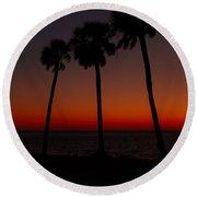 Sunset Beach Silhouette Round Beach Towel