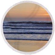 Sunset Beach Stroll  Round Beach Towel