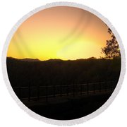 Round Beach Towel featuring the photograph Sunset Behind Hills by Jonny D