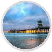 Sunset Beneath The Pier Round Beach Towel