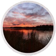Sunset Bliss Round Beach Towel by Lourry Legarde