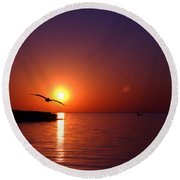 Sunset Blue Round Beach Towel