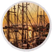 Sunset Boat Masts At Dock Morro Bay Marina Fine Art Photography Print Sale Round Beach Towel