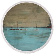Round Beach Towel featuring the painting Sunset Boats by Ben Gertsberg