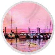 Sunset Boats Round Beach Towel