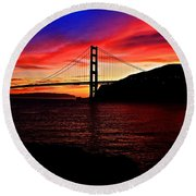 Sunset By The Bay Round Beach Towel by Dave Files