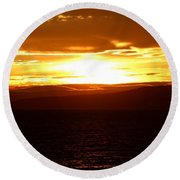 Sunset By The Fjord Round Beach Towel