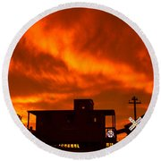 Sunset Caboose Round Beach Towel