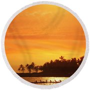 Round Beach Towel featuring the photograph Sunset Canoe by Athala Carole Bruckner