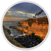 Sunset Cliffs Round Beach Towel