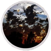 Sunset Clouds Round Beach Towel