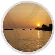 Sunset Crooklets Beach Bude Cornwall Round Beach Towel by Richard Brookes