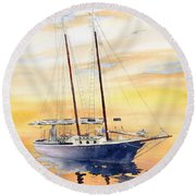 Sunset Cruise Round Beach Towel by Melly Terpening