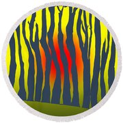 Sunset Deep In The Forest Round Beach Towel