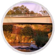 Round Beach Towel featuring the photograph Sunset Dip by Melanie Lankford Photography