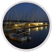 Sunset Dock Round Beach Towel by Charles Beeler