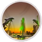 Sunset Dolphins Round Beach Towel