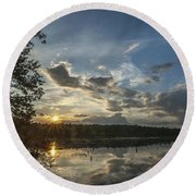 Sunset Double Trouble State Park Nj Round Beach Towel
