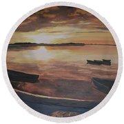 Sunset Evening Tide Round Beach Towel