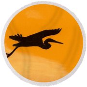 Round Beach Towel featuring the drawing Sunset Flight by D Hackett