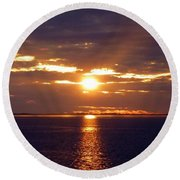 Sunset From Peace River Bridge Round Beach Towel by Barbie Corbett-Newmin