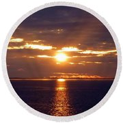 Sunset From Peace River Bridge Round Beach Towel