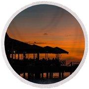 Sunset From Pelican Pier Round Beach Towel